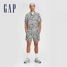 Gap男裝 亞麻混紡印花短袖襯衫 778182-黑白印花