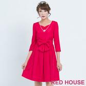 【RED HOUSE 蕾赫斯】素面蝴蝶結洋裝(共2色)
