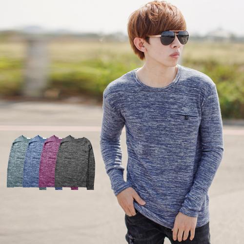 針織衫 韓國製造型口袋舒適柔軟雜花針織上衣【NB0698J】
