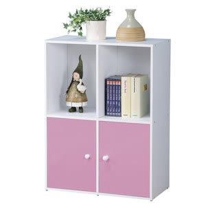 【Homelike】現代風四格二門置物櫃(三色)粉紅