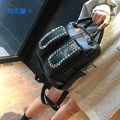 歐美2019新品時尚馬毛雙肩包個性水鉆皮草女包多功能手提單肩背包名品匯