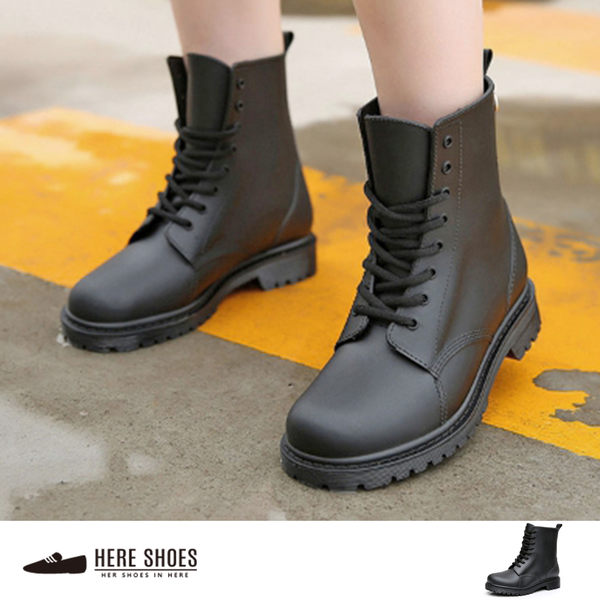 [Here Shoes]英式雨鞋 綁帶馬丁雨靴 雨天熱銷款 輕便百搭防水 低粗跟雨鞋─AR809