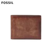 FOSSIL Derrick 棕色真皮帶翻轉證件格RFID皮夾 男 ML3681200