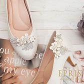 韓國直送手工獨家訂製 一生幸福櫻花雪 婚鞋推薦飾扣鞋夾