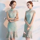 蕾絲旗袍連身裙中國風年輕旗袍裙