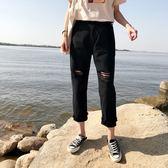 夏裝女裝韓版高腰膝蓋破洞寬鬆顯瘦直筒褲個性毛邊牛仔褲寬管褲潮  檸檬衣舍