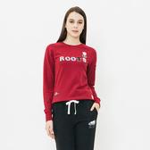 女裝ROOTS - 立體貼布毛圈布圓領上衣-紅色