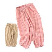 皺皺直條紋透氣九分燈籠褲 褲子 童裝 九分褲 文青風格褲子