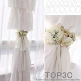 山茶花窗簾固定夾仿真胸花夾歐式復古奢華紗簾裝飾綁帶大號布幔夾「Top3c」