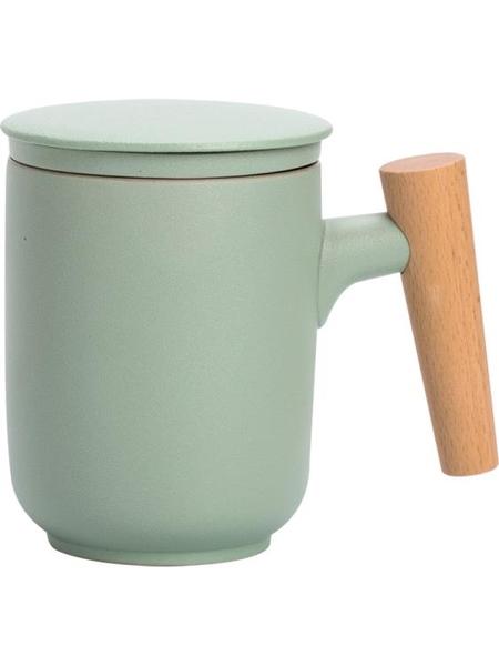 馬克杯 茶水分離泡茶杯子陶瓷磨砂家用辦公室木柄馬克杯帶蓋過濾個人定制 歐歐
