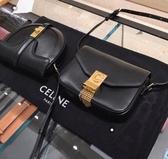 ■專櫃55折■全新真品■Celine 亮面小牛皮小型C流蘇斜肩包
