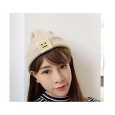 毛帽 笑臉 貼布 尖尖帽 反褶 針織 毛帽【QI1659】  icoca