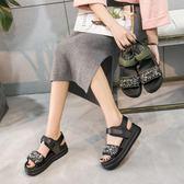 夏季新款女涼鞋韓版皮質魔術貼鬆糕涼鞋女厚底羅馬涼鞋【販衣小築】