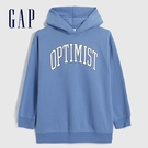 Gap女童 簡約風格印花休閒連帽上衣 619594-青藍色