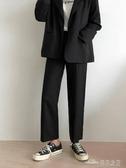 當當衣閣-冬季墜感西裝闊腿褲女加絨加厚直筒 黑色休閒九分cec學生褲子
