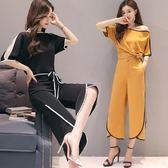 大碼套裝   新款韓版大碼女裝洋氣套裝寬松闊腿褲雪紡兩件套