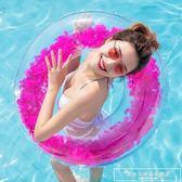 新游泳圈大人兒童網紅火烈鳥獨角獸水上充氣坐騎浮床浮排坐圈亮片CY『韓女王』