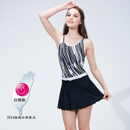 【南紡購物中心】【Bich Loan】魅影連身裙泳裝附泳帽13006102