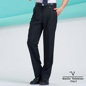 【Emilio Valentino】范倫鐵諾簡約紳士風細條紋雙摺西褲- 黑/藍條紋