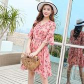 VK旗艦店 韓國風時尚收腰顯瘦V領氣質雪紡碎花短袖洋裝