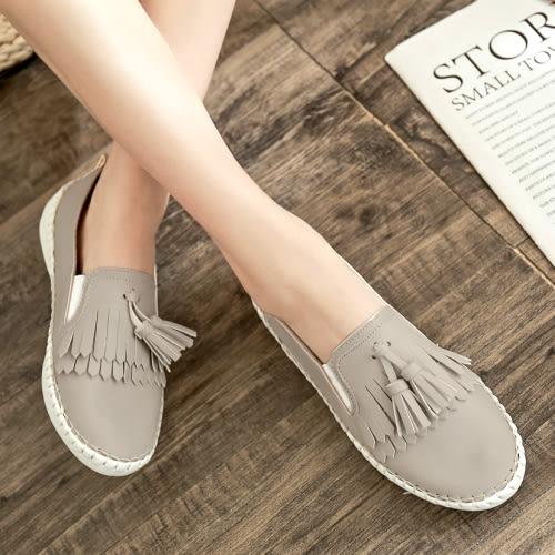 懶人鞋.MIT簡約流蘇拚色PU舒適平底包鞋.白鳥麗子
