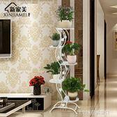 花架 歐式花架子鐵藝創意綠蘿吊蘭落地室內多層花架陽台多肉花盆架 1995生活雜貨igo