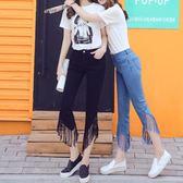 春夏季牛仔褲女2018新款韓版黑色褲子七分褲緊身修身微喇叭潮下殺購滿598享88折