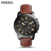 FOSSIL Grant Sport 褐色帥氣皮革計時手錶 男 FS5241
