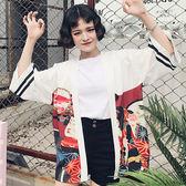 夏季韓國bf日式和服韓版古著外套開衫女寬鬆防曬衣女學生潮【黑色地帶】