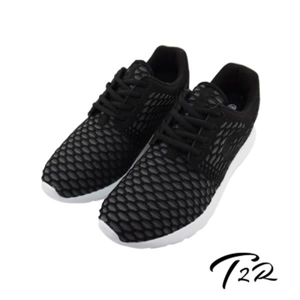 【TRS】韓國TRS洞洞編織空氣內增高六公分休閒女鞋-黑色(7100-0026)