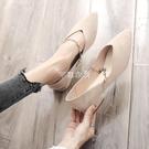 網紅鞋子女2021季新品時尚尖頭粗跟學生豆豆鞋水鉆低跟絨面單鞋 快速出貨