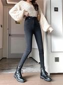 牛仔褲 女士牛仔褲2020秋冬新款高腰加絨顯瘦黑色緊身百搭小腳鉛筆褲子潮
