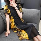 新款夏裝短袖時尚洋裝中長款寬鬆顯瘦雪紡圓領拼接裙子氣質 - 巴黎衣櫃