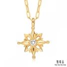 點睛品 18K黃色金太陽光芒鑽石項鍊...