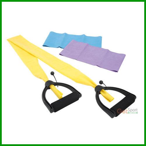 瑜珈彈力帶3條組(附通用把手)(抗力帶/拉筋帶/乳膠片/皮拉提斯帶/伸展彈力繩)