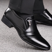 皮鞋男春秋商務正裝透氣繫帶皮鞋男士韓版休閒黑色尖頭青年鞋男鞋「時尚彩虹屋」