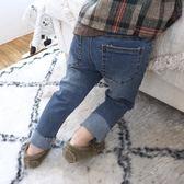 正韓定制男女童做舊破洞牛仔褲兒童毛邊牛仔長褲221禮物限時八九折