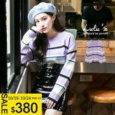 LULUS特價-Y粗細配色橫紋針織上衣-紫  現+預【01052756】