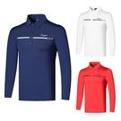 高爾夫 高爾夫長袖T恤男裝翻領速干上衣 golf服裝男球衣紅
