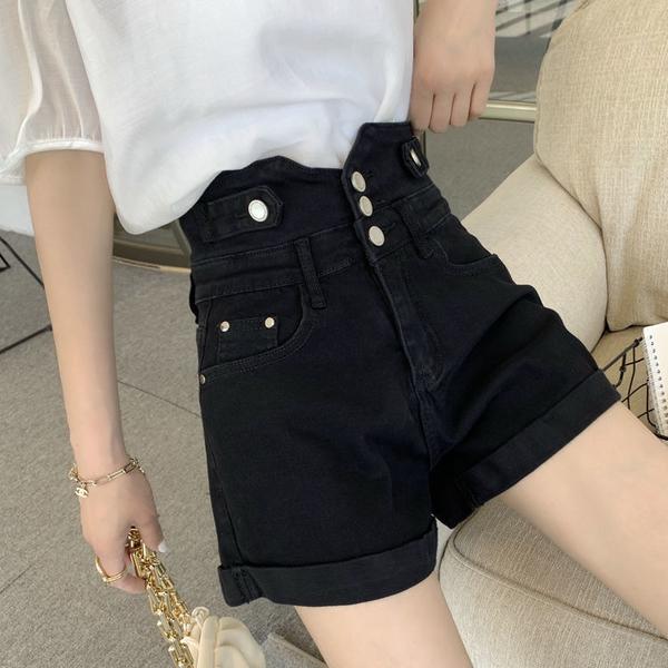 短褲 大碼高腰牛仔短褲女2021夏季新款韓版時尚顯瘦百搭a字褲闊腿熱褲 全館免運