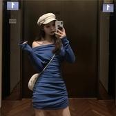 長袖洋裝性感露肩長袖高腰顯瘦連身裙夏季女裝2020新款潮修身包臀打底裙子 雙11 伊蘿