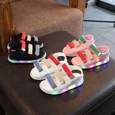 2019夏季新款兒童涼鞋男童LED發光亮燈鞋韓版女童寶寶百搭沙灘鞋 滿天星