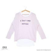 【INI】輕鬆穿搭、真兩件式條紋慵懶感連袖上衣.粉色