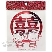 〔小禮堂〕Hello Kitty x Daniel 囍字造型透明裝飾貼紙《M.紅.中式禮服》壁貼.黏貼用品 4714581-30777