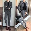 休閒西裝男外套韓版潮流修身帥氣西服男套裝韓國英倫風禮服兩件套 黛尼時尚精品
