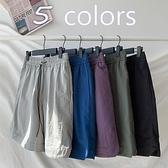 棉麻運動短褲女夏季薄款ins潮顯瘦寬鬆bf港味復古休閒五分中褲子 歐歐