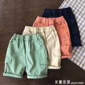 夏基本實用款男童四色休閒短褲 90-160兒童大口袋工裝卡其褲