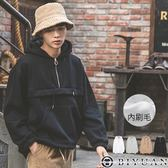 【OBIYUAN】刷毛帽T 拉鍊拼接連帽長袖上素面長T共4色【SP2154】