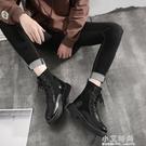馬丁靴男潮中筒工裝靴子高筒英倫風男鞋春季百搭透氣潮流黑色皮靴【小艾新品】