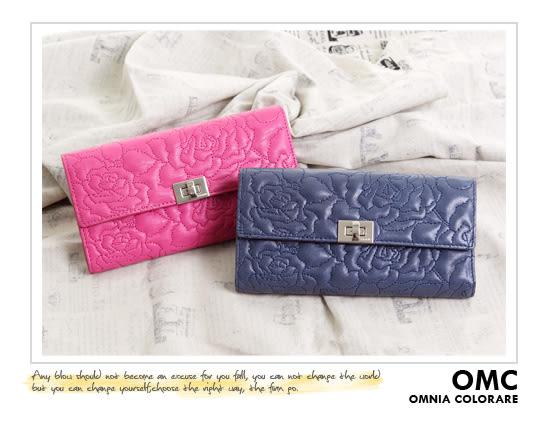 OMC - 專櫃花卉浮雕紋真皮長夾 - 星晨藍